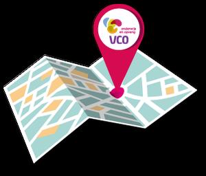 Kaart van alle locaties van VCO Oost Nederland.